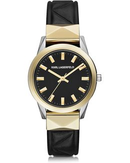 Labelle Stud Klassic Black And Gold Women's Watch