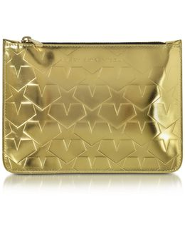 Laminated Gold Leather Pouch W/stars