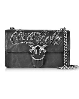 Love Trilogy Black Leather Shoulder Bag