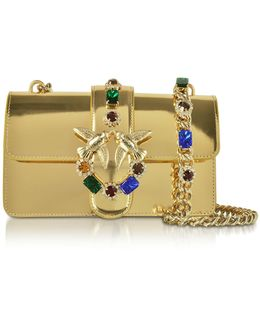 Mini Love Gold Laminated Leather Shoulder Bag