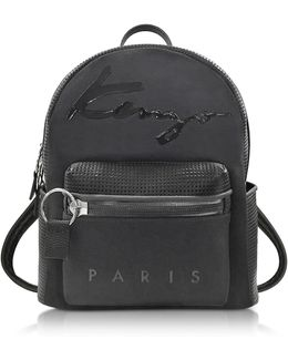 Black Perforated Neoprene And Canvas Backpack