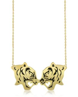 Gold Plated And Black Lacquer Fighting Tiger Necklace