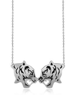 Rhodium Silver And Black Lacquer Fighting Tiger Necklace