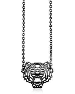 Ruthenium Plated Sterling Silver Cut Out Tiger Necklace W/crystal