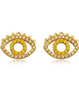 Goldtone Mini Eye Earrings W/crystals