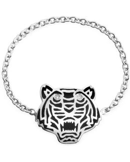 Black Lacquer Sterling Silver Mini Tiger Ring