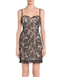 Daily Looks Black And Pink Embroidered Lace Dress W/built-in Bra