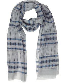 Batik Print Cotton Blend Men's Long Scarf W/fringes