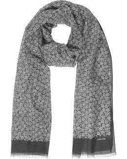 Paisley Print Cotton Blend Men's Long Scarf W/fringes