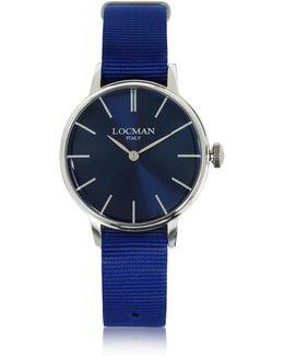 1960 Silver Stainless Steel Women's Watch W/blue Canvas Strap