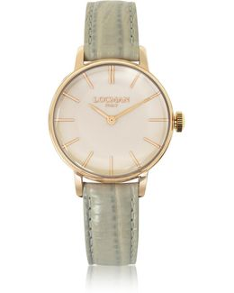 1960 Rose Gold Pvd Stainless Steel Women's Watch W/light Grey Python Embossed Leather Strap