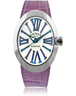 Change Stainless Steel Oval Case Women's Watch W/3 Leather Straps