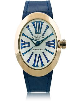Change Gold Plated Stainless Steel Oval Case Women's Watch W/3 Leather Straps