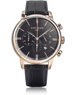 1960 Rose Gold Pvd Stainlees Steel Men's Chronograph Watch W/black Strap