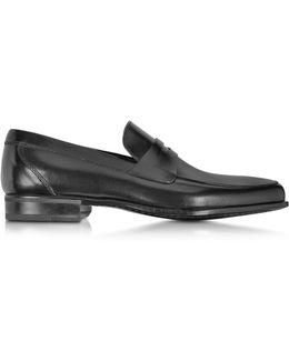 Graz Black Calf Leather Loafer Shoe W/rubber Sole