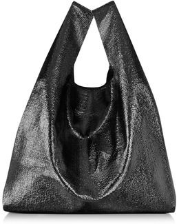 Black Glossy Eco Leather Tote