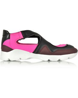 Color Block Nylon And Leather Sneakers