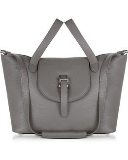 Elephnat Grey Leather Thela Medium Tote Bag