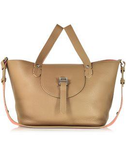 Light Tan And Persimonio Leather Thela Medium Tote Bag
