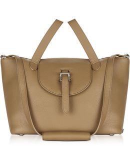 Light Tan Leather Thela Medium Tote Bag