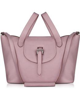 Mauve Leather Thela Medium Tote Bag