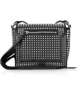 Black Studded Leather Leather Mini Crossbody Bag