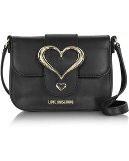 Eco Leather Crossbody Bag W/heart Buckle