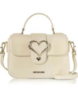 Eco Leather Satchel Bag W/heart Buckle