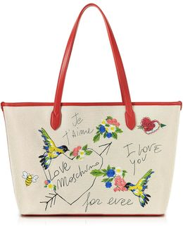 Natural Canvas And Red Eco Leather Tote W/embroidery I Love You