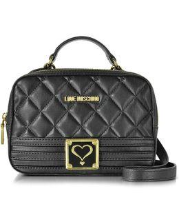 Black Quilted Eco Leather Satchel Bag W/detachable Shoulder Strap