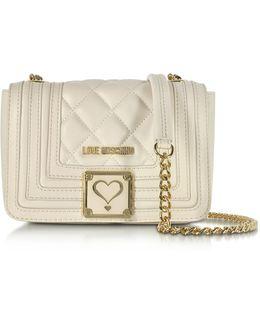 Ivory Quilted Eco Leather Shoulder Bag