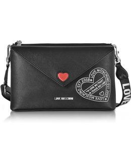 Pocket Love Black Eco Leather Shoulder Bag