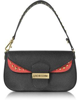 Double Flap Color Block Eco Leather Shoulder Bag