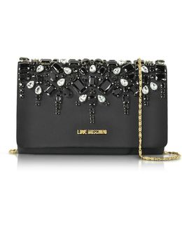 Satin And Crystals Evening Clutch W/chain