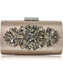 Bronze Satin And Crystals Evening Clutch W/chain
