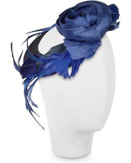 Alba - Night Blue Flower Feather Hat Disc