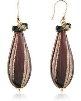Old Venice - Oval Gold Foil Drop Earrings