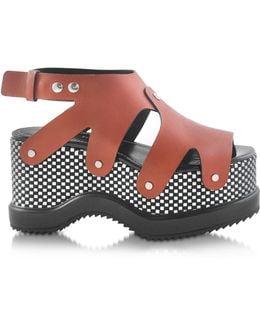 Nappa Leather Sandal W/optical Print Wedge