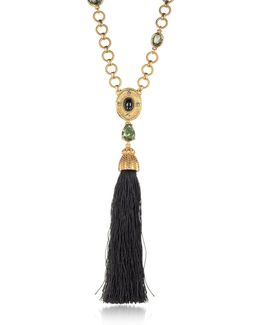 Crystal And Resin Tassel Pendant Necklace