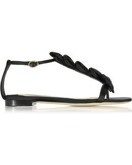 La Delicate Flat Black Satin T-strap Sandal