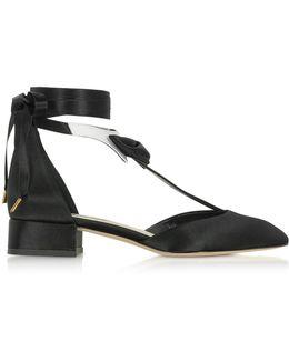 La Garconne Black And White Satin Mid-heel Pump