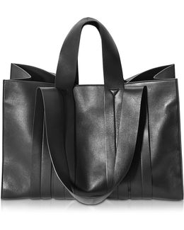 Costanza Beach Club Large Black Nappa Leather Tote