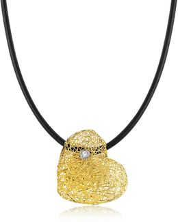 Woven Light Yellow Gold Heart Pendant Necklace W/diamond