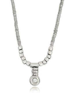 White Gold Chain Snake Necklace W/diamond