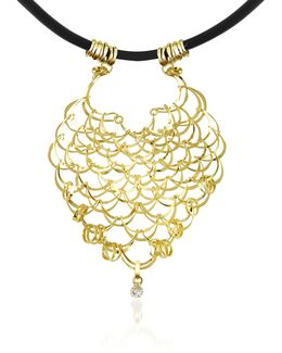 Scintille - Diamond Drop 18k Yellow Gold Net Necklace