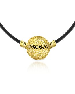 Arianna - 18k Yellow Gold Wire Pendant Rubber Necklace