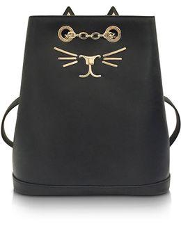 Feline Black Leather Petit Backpack