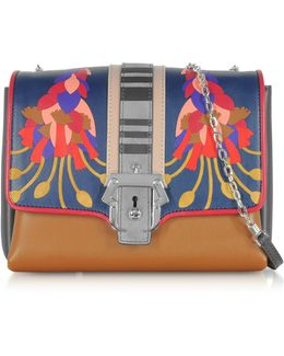 Alice Leather And Suede Shoulder Bag W/chain