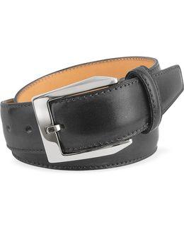 Men's Black Hand Painted Italian Leather Belt