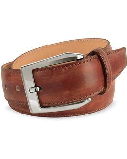 Men's Brown Hand Painted Italian Leather Belt